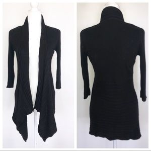 WHBM Black Open Knit Cardigan Sweater